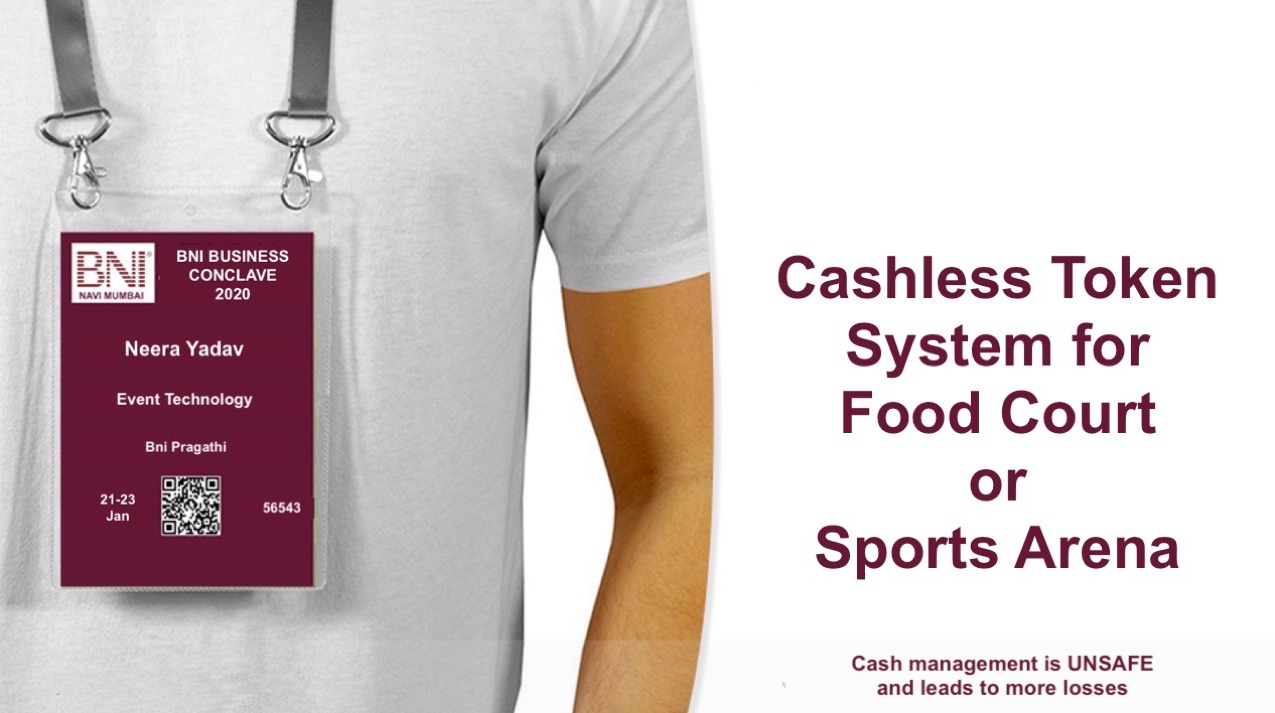 cashless token system for food court sports arena